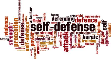 Concept de mot-de-mot auto-défense. Illustration vectorielle Vecteurs