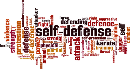 Self-defence word cloud concept. Vector illustration