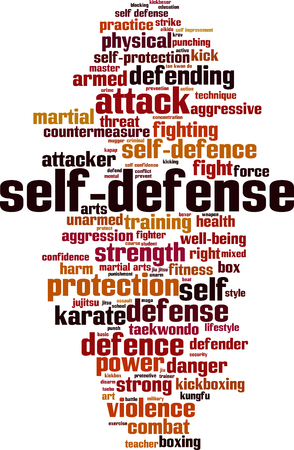 self  defense: Self-defence word cloud concept. Vector illustration