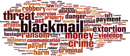 Blackmail word cloud concept. Vector illustration