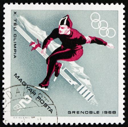 HUNGARY - CIRCA 1968: a stamp printed in Hungary shows Speed Skating, Winter Sport, 10th Winter Olympic Games, Grenoble, circa 1968 Editorial