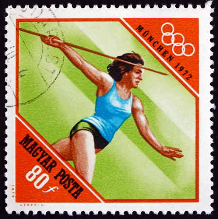 european: HUNGARY - CIRCA 1972: a stamp printed in Hungary shows Javelin, Athletics, 20th Olympic Games, Munich, circa 1972 Editorial
