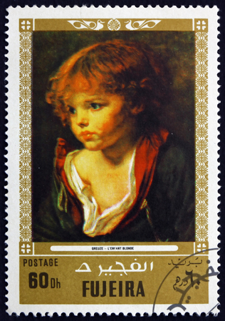 FUJEIRA - CIRCA 1972: a stamp printed in the Fujeira shows a Blond Haired Boy with an Open Shirt, Painting by Jean Baptiste Greuze, French Painter, circa 1972 Editorial