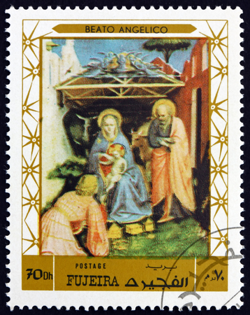 FUJEIRA - CIRCA 1972: a stamp printed in the Fujeira shows Nativity, Painting by Beato Angelico, circa 1972