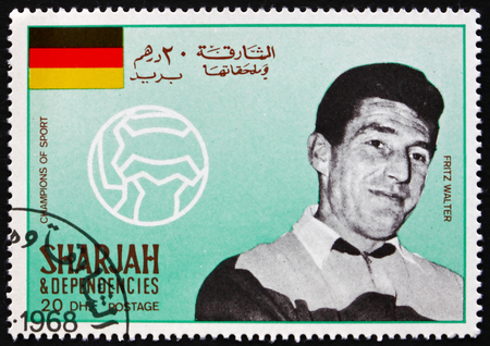 SHARJAH - CIRCA 1968: a stamp printed in Sharjah UAE shows Friedrich Fritz Walter, Famous Soccer Player, circa 1968