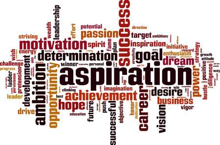 Aspiration word cloud concept. Vector illustration