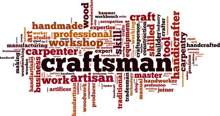 Craftsman word cloud concept. Vector illustration