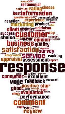 response: Response word cloud concept. Vector illustration Illustration