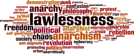 anarchism: Lawlessness word cloud concept. Vector illustration Illustration