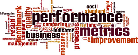 Performance metrics word cloud concept. Vector illustration