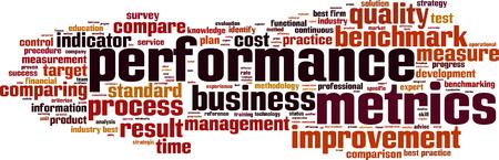 Performance-Metriken Wort Cloud-Konzept. Vektor-Illustration