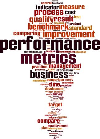 metrics: Performance metrics word cloud concept. Vector illustration