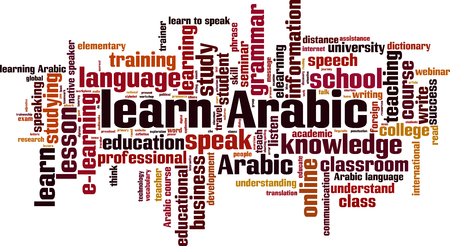 talking dictionary: Learn Arabic word cloud concept. Vector illustration