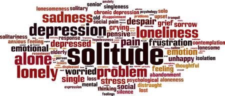 Solitude word cloud concept. Vector illustration Illustration