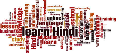 talking dictionary: Learn Hindi word cloud concept. Vector illustration