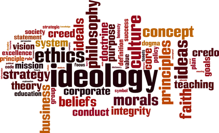 Ideology word cloud concept. Vector illustration