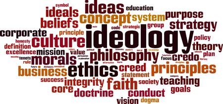Ideologie woord wolk concept. Vector illustratie
