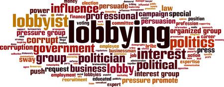 Lobbyen woord wolk concept. Vector illustratie