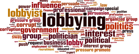 Lobbying word cloud concept. Vector illustration
