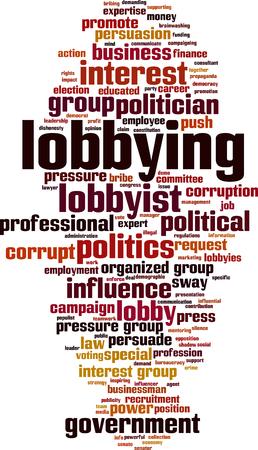 Lobbying word cloud concept. Illustrazione vettoriale