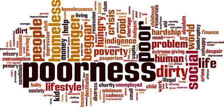 Poorness word cloud concept. Vector illustration Illustration