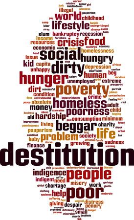 Destitution word cloud concept. Vector illustration