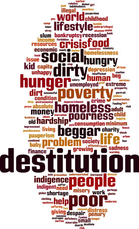 Destitution word cloud concept. Vector illustration