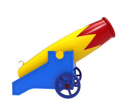 Eight colorful cannon, 3D rendering, on the white background