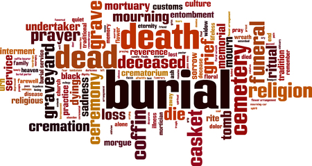 urn: Burial word cloud concept. Vector illustration