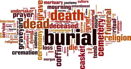Concetto di nube parola di sepoltura. Illustrazione vettoriale
