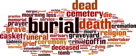 lifeless: Burial word cloud concept. Vector illustration