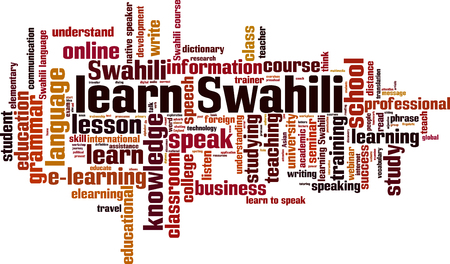 talking dictionary: Learn Swahili word cloud concept. Vector illustration