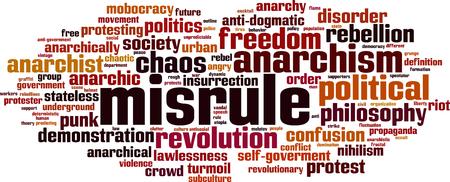 anarchism: Misrule word cloud concept. Vector illustration Illustration