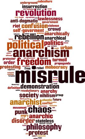 stateless: Misrule word cloud concept. Vector illustration Illustration