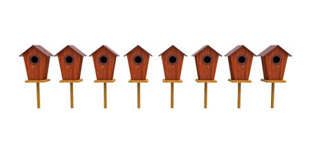 Bird house 3d render isolated on white