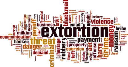 Extortion word cloud concept. Vector illustration