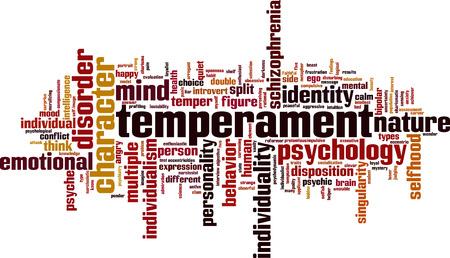 Temperament word cloud concept. Vector illustration Ilustrace