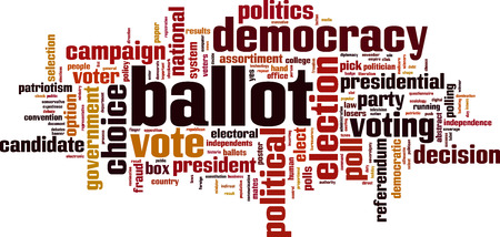 Ballot word cloud concept. Vector illustration Ilustrace