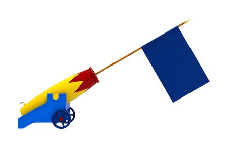 Colorful cannon with a flag, 3D rendering, on the white background