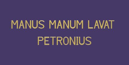 Manus manum lavat (the favor for the favor),  Latin phrase by Petronius, 3d render Фото со стока