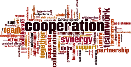 Cooperation word cloud concept. Vector illustration
