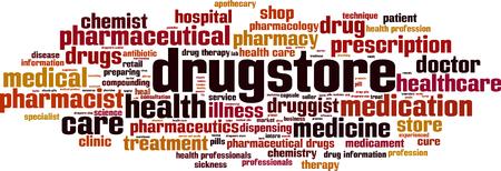 Drugstore word cloud concept. Vector illustration