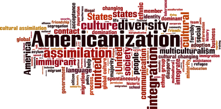 assimilate: Americanization word cloud concept. Vector illustration