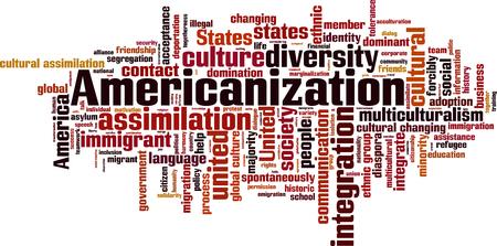 unify: Americanization word cloud concept. Vector illustration