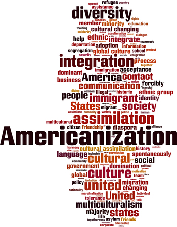 spontaneously: Americanization word cloud concept. Vector illustration