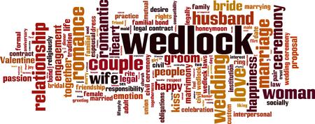 obligations: Wedlock word cloud concept. Vector illustration