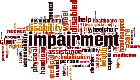 Impairment word cloud concept. Vector illustration Illustration