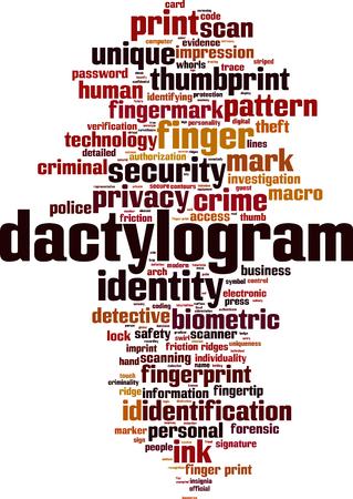 Dactylogram word cloud concept. Vector illustration