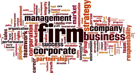 career fair: Firm word cloud concept. Vector illustration