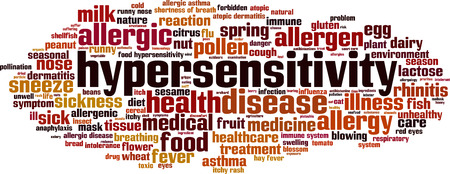 respiration: Hypersensitivity word cloud concept. Vector illustration